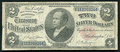"""FR. 246 1891 $2 TWO DOLLARS """"WINDOM"""" SILVER CERTIFICATE CURRENCY NOTE SCARCE"""