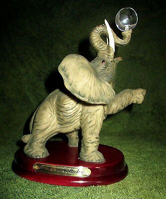 "Circus Elephant with Crystal Ball 7 1/2"" Part of the No One Collection Wood Base"