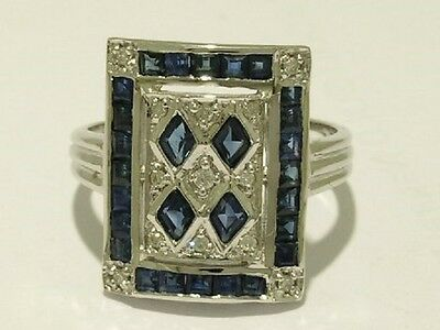 C101- Genuine 9ct White Gold NATURAL Sapphire & Diamond Ring made in your size