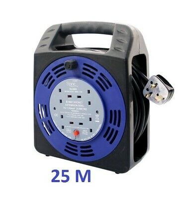 4 Gang 25m Extension Reels Electrical Power Lead Cable Mains Plug4 Gang 25m