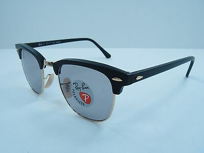 RAY-BAN CLUBMASTER POLARIZED SUNGLASSES RB3016 901SP2 BLACK/GREY LENS 51MM, NEW!