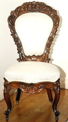 "Parlor Chair, Rococo, Victorian, solid rosewood, roses, 41""t, c1860"
