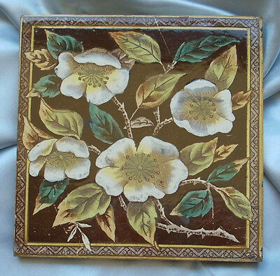 Genuine Antique Victorian Floral Tile ....