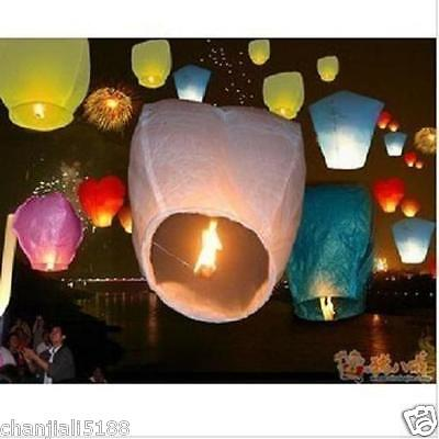 HOT 20PCS FIRE SKY CHINESE LANTERNS BIRTHDAY WEDDING PARTY 9colors PW#016