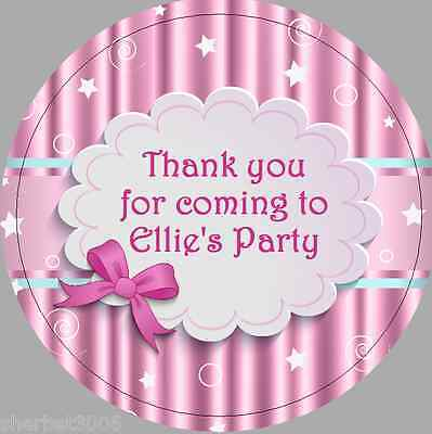 24 x 40mm Personalised Pink Stars & Bow Labels Stickers Party Thank You Seals