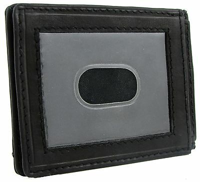 New Paul & Taylor Mens Leather Front Pocket Slim ID Credit Card Holder Wallet