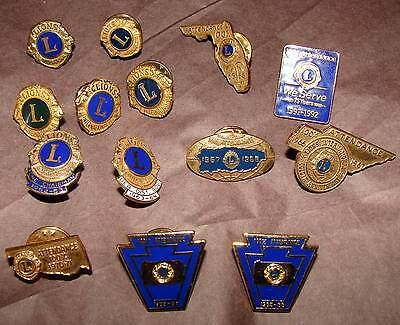 14 Vintage Lions Club / International Pins 100% Attendance Pins