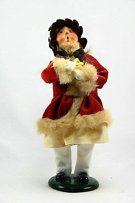 Byers Choice Carolers Girl in Red Velvet w/ Basket of Treats 1997- Retired