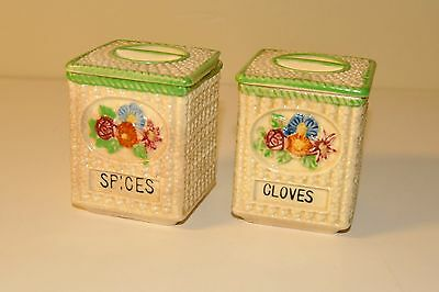 Vintage Ceramic CLOVES & SPICES Canisters