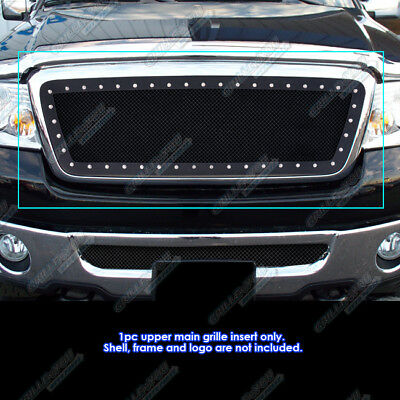 Fits 2004-2008 Ford F-150 Rivet Black Stainless Steel Mesh Grille Grill Insert