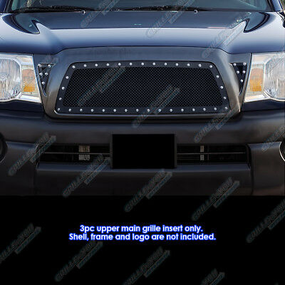 Fits 2005-2010 Toyota Tacoma Black Rivet Stainless Steel Mesh Grille 2006 2007