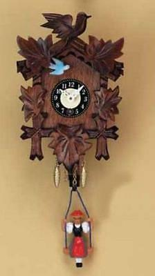 Swinging Girl Doll Quartz Movement Hand Painted German Wooden Clock with Sound