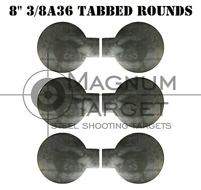 Six 8in. Steel Target Tabbed Rounds for Plate Racks, Dueling Trees and Swingers