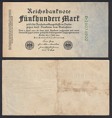 Germany 500 Mark 1922 Green Serial Number Fine Banknote