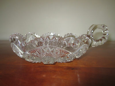 Vintage Clear Candy Dish Sawtooth Cut Glass with One Handle