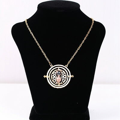 Harry Potter Hermione Granger Rotating Time Turner Necklace Gold Hourglass DX