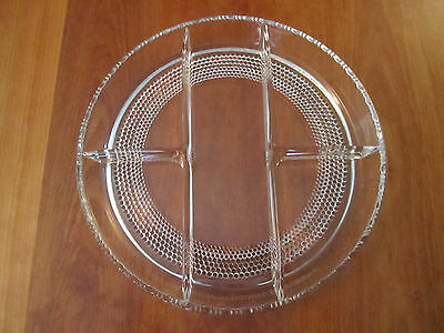 Vintage Round Clear Heavy Cut-Glass Divided Serving Plate