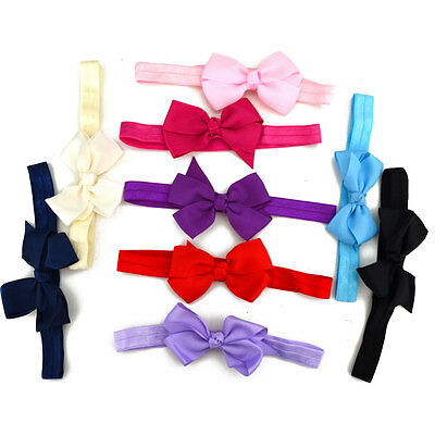 Baby Girls Super Soft Bow Headband Hairband  Elastic Wedding/Christening/Party