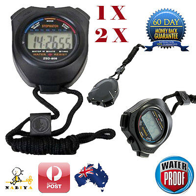 Waterproof Stopwatch Handheld Digital LCD Chronograph Sports Counter Timer Watch