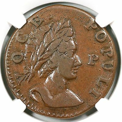 1760 Voce Populi NGC XF45 'P' in front 1/2p Colonial Copper Coin