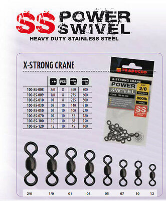 X Strong Power Swivels stainless steel up to 800lb b/s size 2/0 to 12