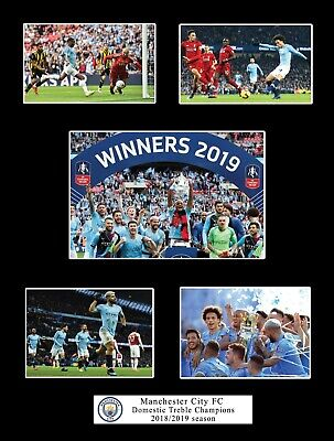 Manchester City 2018/2019 Treble Champions Photo Compilation Memorabilia Gift
