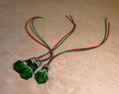 Green Indicator Pilot Light 120V. Pack of 3 Bulbs