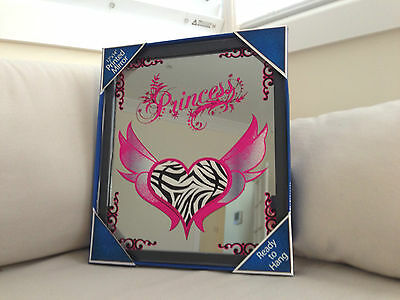 PRINCESS Pink Wings HEART MIRROR Black Framed Brand NEW Great Gift BAR Dorm Room