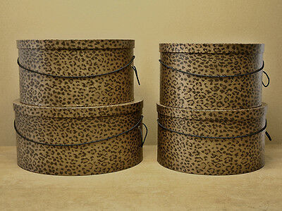 Classic LEOPARD PRINT X-Large Hat Boxes ─ Millinery Stack of Four (4 boxes)