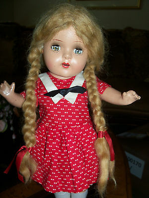 "Antique 1930's - 40's 15.5"" Composition Doll w/ Mohair Wig /Pigtails - Unmarked"