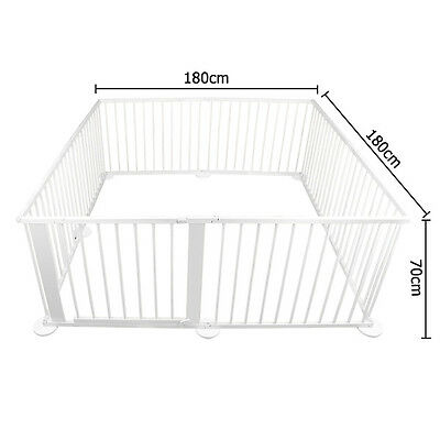 Baby Natural White Wooden Playpen Toddler Divider Safety Gate 8 Panel