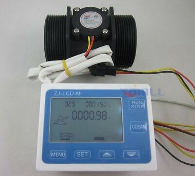 "G2"" 2inch Flow Water Sensor Meter+LCD Display Quantitative Control 5-300L/min"