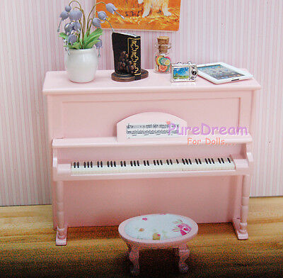 1/12 Scale Dollhouse Music Room Furniture Instrument Wooden Piano & Stool 2PCS