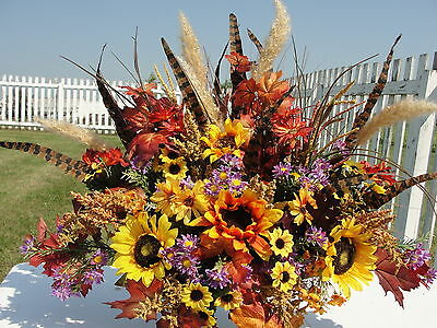 Silk Harvest Headstone Memorial Grave Flowers Cemetery Tombstone Saddle Feathers