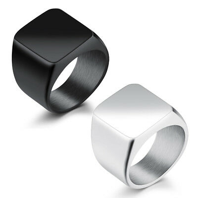 Polished Silver 316L Stainless Steel Band Biker Mens Signet Ring Gift Size 7-15