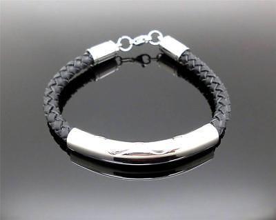 316L S/Steel & Braided Leather Cord Cremation Memorial Keepsake Urn Bracelet NIB