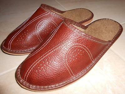 Mens Genuine Sheep Leather Slippers Shoes Sandals Wool Made In Poland Scuffs New