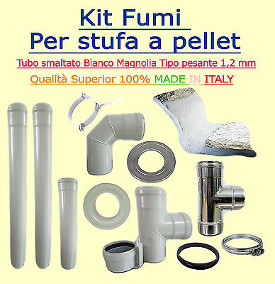 Flue Kit For Biomass Stoves Diam 80Mm Coated Ivory 1,2 Mm Wall Thickness Full Op
