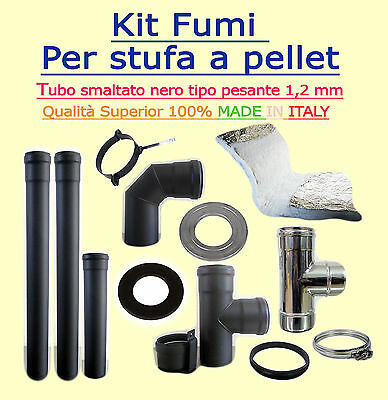 Flue Kit For Biomass Stoves Diam 80Mm Coated Black 1,2 Mm Wall Thickness Full Op