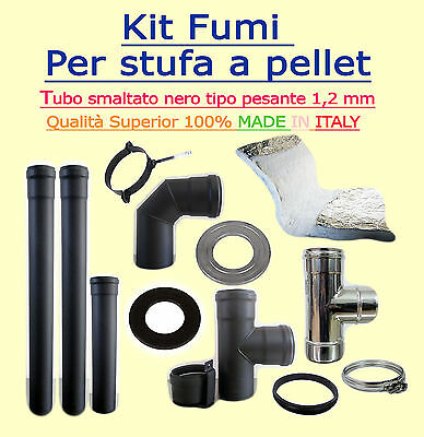 Flue Kit For Biomass Stoves Diam 100Mm Coated Black 1,2 Mm Wall Thickness Full O
