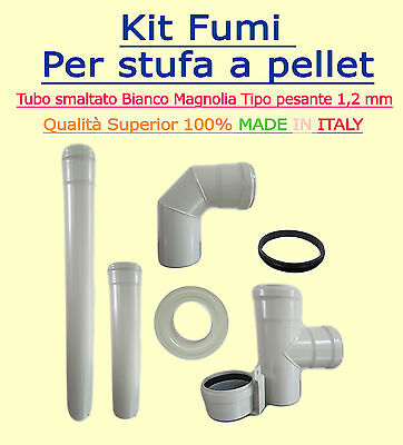 Flue Kit For Biomass Stoves  Diam 80Mm Coated Ivory 1,2 Mm Wall Thickness
