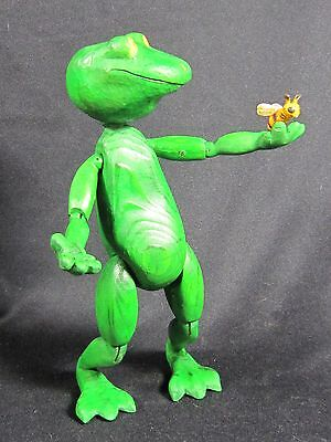 Raikes wood carved FROG of Contemplation OOAK To BE or NOT to BEE sculpture
