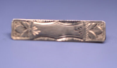 Small Antique Victorian 10K Yellow Gold Bar Pin Engraved Design Perfect For Doll