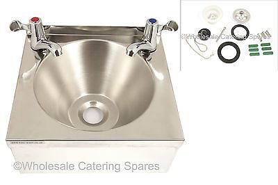 COMMERCIAL Stainless Steel Catering Hand Wash BASIN with 2  lever taps & WASTE