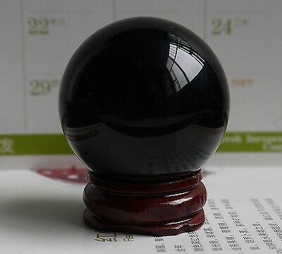New OBSIDIAN POLISHED BLACK CRYSTAL SPHERE BALL 40MM +STAND&5
