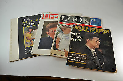Lot of Four Magazines celebrating John F Kennedy: Life, Look and Memorial Album
