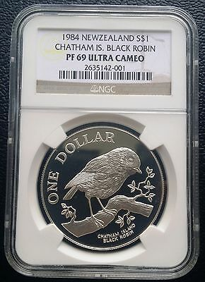 1984 New Zealand  $1 Dollar Sterling Silver Proof Coin NGC PF69 UC  Black Robin