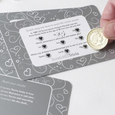 10 White SILVER Heart SCRATCH CARDs Table TRIVIA Wedding Favour GAME Decoration