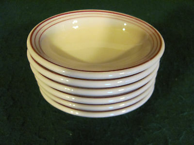 6 IROQUOIS BEIGE OVAL RESTAURANT WARE SIDE BOWLS W/ RED STRIPES