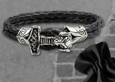 Viking Mjölnir Thor's Hammer Leather Bracelet Strap Bangle Wristband